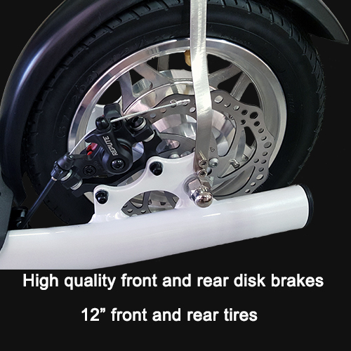High quality front and rear disk brakes and 12 inch tires