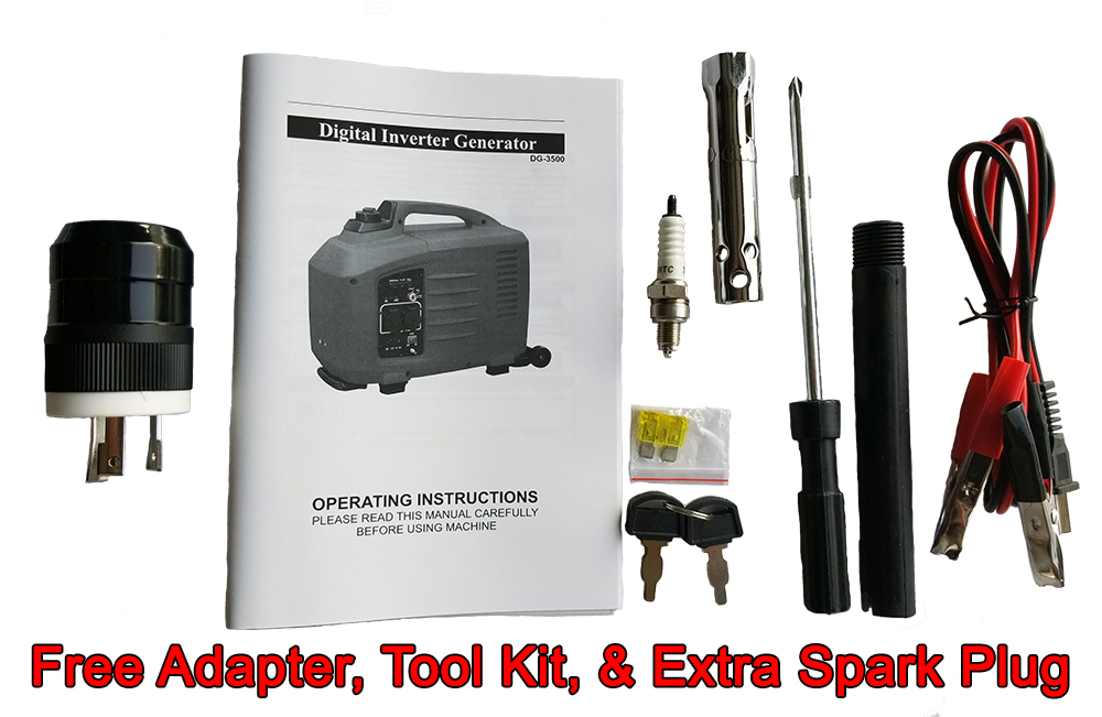 Adapter, Tool Kit, Extra Spark Plug are included free