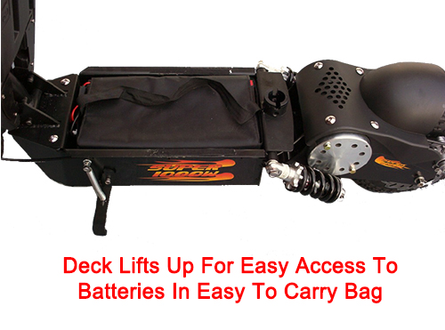 Deck lifts for easy access to battery