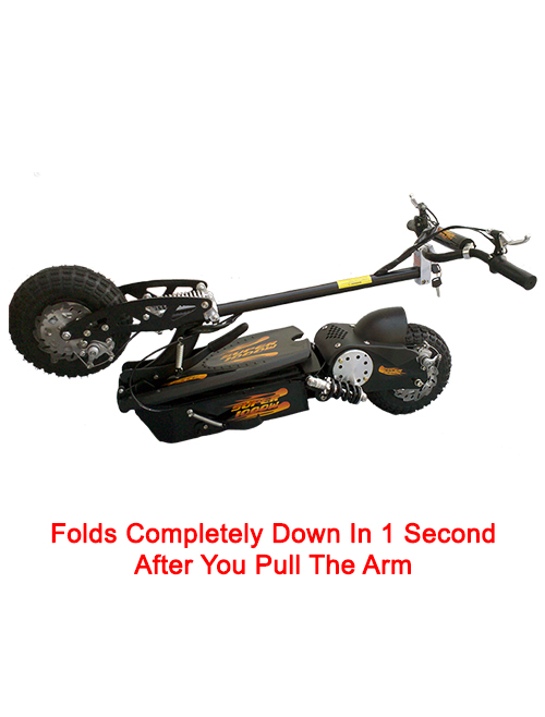 Folds down in 1 second by pulling arm