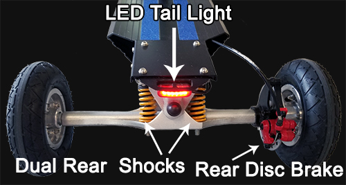 Rear disk brake, dual rear shocks and LED tail light