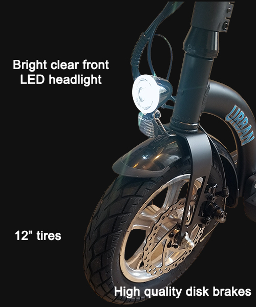 LED front headlight disk brake and 12 inch tire